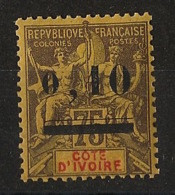 Côte D'Ivoire - 1904 - N°Yv. 19 - Groupe 0,10 Sur 75c Noir Sur Jaune - Neuf GC ** / MNH / Postfrisch - Neufs