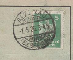 Deutsches Reich Karte Mit Tagesstempel Alzenau 1926 Bz Breslau Olszanka Lk Brieg RB Breslau Schlesien - Lettres & Documents