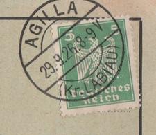 Deutsches Reich Karte Mit Tagesstempel Agilla 1926 Kr Labiau Krasnoje RB Königsberg Ostpreussen Mit Werbung U Zeichnung - Lettres & Documents