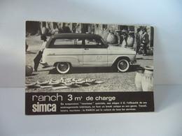 CARTE PUBLICITAIRE SIMCA RANCH 3 M3 DE CHARGE H.BEVER 4 RUE PERGAUD BESANCON 25 DOUBS IMP COGERY PARIS - Turismo
