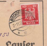 Deutsches Reich Karte Mit Tagesstempel Bischofsburg 1925 Lk Rößel RB Allenstein Biskupiec Ostpreussen - Lettres & Documents
