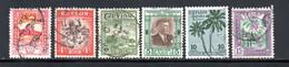 MCL - DOMINION CEYLON - 1949 / 1951 -  LOT DE 6 TIMBRES YT 275 - 280 à 283 - 286 - OBLITERES - Sri Lanka (Ceylan) (1948-...)