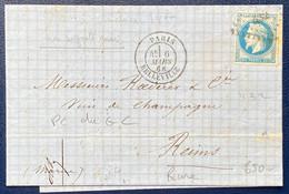 ✉️De Paris Belleville ➤ Reims 1868 N°29A Obl PC Du GC 432 RRR (semble Non Signalé) + Variété Doublage Du Bas TTB - 1863-1870 Napoléon III Lauré