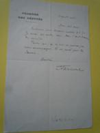 BIllet Autographe Alexandre VARENNE (1870-1947) Fondateur De LA MONTAGNE - Député Socialiste Du PUY De DOME - Autographs
