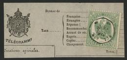 """TELEGRAPHE N° 6 50 Ct Vert Dentelé Obl. C. à D. Ondulé """"AIX 15/-/70"""" Sur Un Fragment De Télégramme (voir Description) - Télégraphes Et Téléphones"""