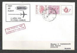 BRUXELLES-DUBLIN- Sabena 2/4 Reporté Au 3/7/1979 - Timbres Belgique (carnet Baudouin Type Elström + Lion Héraldique) - Airplanes