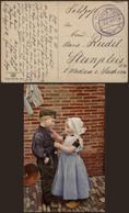 """Bataillon Allemand - Felpostkarte (Oostende Landstation 1918) + Briefstempel """"Hafenbau Deutsche Feldpost Nr 12"""" - Deutsche Armee"""