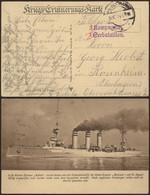 Bataillon Allemand - Felpostkarte (S.M. Kleiner Kreuzer Koln, 1914) + Griffe De Régiment 2 KOMPAGNIE X SEEBATAILLON - Deutsche Armee