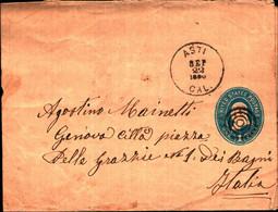 36234) Biglietto Postale Da 1 C. Franklin Azzurro Degli Stati Uniti-bollo 4 Cerchi E Asti 22-9-1922 - Briefe U. Dokumente