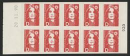 MARIANNE DE BRIAT 10 TP Rouges Avec La Lettre D N°2713-C1 Cote 14 € Vendu à La Valeur Faciale (voir Description) - Usage Courant