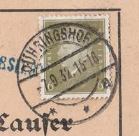 Deutsches Reich Karte Mit Tagesstempel Dühringshof 1932 Kr Landsberg Warthe Neumark Mit Werbung U Zeichnung - Lettres & Documents
