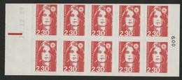 MARIANNE DE BRIAT 10 TP à 2,30 Fr N°2630-C1 Cote 25 € Vendu à La Valeur Faciale (voir Description) - Usage Courant