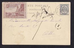DDY 777 -- Vignette RARE - DINANT Sur Meuse S/ Carte-Vue TP Armoiries DINANT 1900 à ATH , Taxée (Vignette) Puis Détaxée - Briefe U. Dokumente