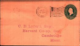 36252) Biglietto Postale Da 2 C. Franklin Verde Degli Stati Uniti-bollo Cambidgesia Boston Mass. Jan-26-1930 E Bandiera - Briefe U. Dokumente