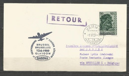BRUXELLES-GLASGOW - Sabena 12/6/1959 - Timbres Liechtenstein (Dorf Linde In Schaan) - Airplanes