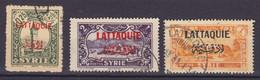Lattiquie 1931 Mi. 68, 75, 77  0.25, 2, 4 Piastre Syria Overprinted W. 'LATTIQUIE' In French & Arabic (Used) - Oblitérés