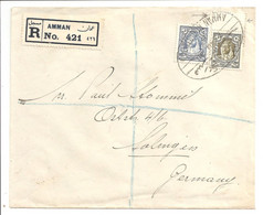 Hussein 15m + 20m Registered Amman To Germany. Ottoman Bank 1936 - Jordan