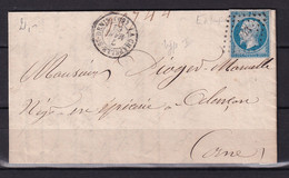 D 139 / NAPOLEON N° 14 SUR LETTRE - 1853-1860 Napoleon III