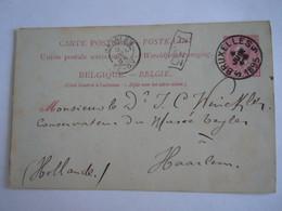 Belgique Entier Carte Briefkaart Leopold II Nr 21.II 1891 10 C Circulée Gelopen 1895 Bruxelles 5 - Haarlem - Postcards [1871-09]