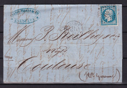D 139 / NAPOLEON N° 14 SUR LETTRE / VARIETE FILET BAS - 1853-1860 Napoleon III