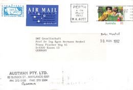 AUSTRALIA - AIR MAIL LETTER 1992 PERTH > ESSEN/DE /QD10 - Cartas