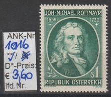 """1954 - ÖSTERREICH - SM """"300. Geburtstag V. M. Rottmayer""""  1S Bläul'grün -  ** Postfrisch - S. Scan (1016     At) - 1945-60 Neufs"""