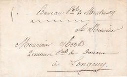 LAC Manus Bureau Ppal De Montmédy Par Porteur (dérogation Au Monopole Des Postes) Pour Receveur Douanes Longwy 1839 - 1801-1848: Precursors XIX