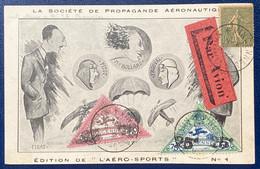 Carte Par Avion Vincennes-Aviation Semeuse N°130 +Vignettes Avion Goliath Farman 50c Et 25c (SURCHARGE RENVERSEE !) - Andere