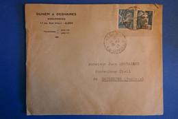 L20 ALGERIE BELLE LETTRE 1946 ALGER  POUR KASSERINE TUNISIE+ SURCHARGES +AFFRANCH INTERESSANT - Lettres & Documents