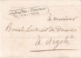 LSC Direction Des Douanes De St Gaudens Par Porteur (dérogation Au Monopole Des Postes) Pour Argelès Bagnères Vers 1825 - 1801-1848: Précurseurs XIX