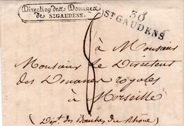 LAC Direction Des Douanes De St Gaudens En Port Dû Pour Marseille Taxe 8 En 1826 Frappes Superbes - 1801-1848: Précurseurs XIX