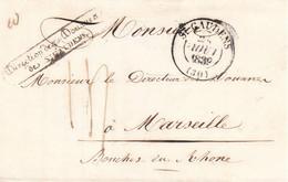 LSC Direction Des Douanes De St Gaudens En Port Dû 10g Pour Marseille Taxe 14 En 1839 (dernière Année) - 1801-1848: Précurseurs XIX