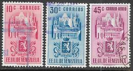 Venezuela   1951  Sc#486, 490, C371 Caracas   Used  2016 Scott Value $5.50 - Venezuela