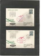 """BRUXELLES-PRAGUE-ATHENES-LE CAIRE - 14/10/1957 Dont Cachet """"vol Annulé"""" - Timbre Tchécoslovaquie - Airplanes"""