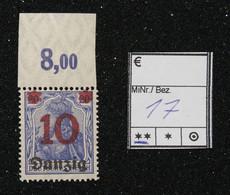 Nr. 17 Danzig Randstück Postfrisch - Dantzig