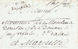 LAC En Port Payé 1808 En-tête Inspecteur Des Douanes Impériales à La Ciotat Pour Le Directeur à Marseille Taxe 20 Au Dos - 1801-1848: Précurseurs XIX