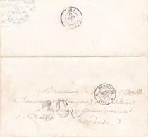 LAC Direction Douanes Marseille 1857 Pour Un Militaire à Ficaja Corse Arrivée La Porta Taxe Double Trait 30 - 1849-1876: Classic Period