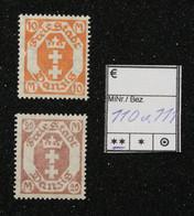 Nr. 110 Und 111 Danzig Postfrisch - Dantzig