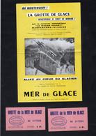 """GROTTE De La MER DE GLACE - Au MONTENVERS Accessible Par Le Nouveau Téléphérique """"Le Wagon Volant"""" + 2 TICKETS - Dépliants Turistici"""