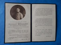 FAIRE PART DECES POILU  MILITAIRE WWI  SOUS LIEUTENANT MULSANT 33 EME REGIMENT ARTILLERIE BATAILLE SOMME 10 OCTOBRE 1916 - Documenti