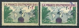 21034 FRANCE N°503a/3**(Cérés) 1F+1F France D'Outre-Mer : Violet Au Lieu De Lilas + Normal  1941  TB - Variétés: 1941-44 Neufs