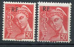 21036 FRANCE N°658** 30c. Rouge Mercure : Surcharge Déplacée + Normal  1944  TB - Variétés: 1941-44 Neufs