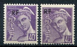 21037 FRANCE N°659** 40c. Violet  Mercure : Surcharge Déplacée + Normal Violet Sur Le 0  1944  TB - Variétés: 1941-44 Neufs