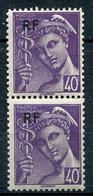 21039 FRANCE N°659** 40c. Violet  Mercure : Timbre Du Haut Plus Petit Tenant à Normal  1944  TB - Variétés: 1941-44 Neufs