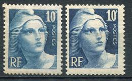 21041 FRANCE N°725** 4F. Bleu : Impression Dépouillée +  Normal  1944  TB - Variétés: 1941-44 Neufs