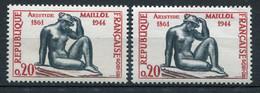 21042 FRANCE N°1281e**(Cérés) 20c. Maillol : Socle Carmin + Normal (non Fourni)  1961  TB - Variétés: 1960-69 Neufs