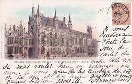 Bruges L'Hôtel De Ville Et La Chapelle Du St-Sang Circulée En 1900 !!! - Brugge