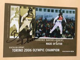 SKI - BIATHLON SPRINT - FLORENCE BAVAREL-ROBERT ...Signature...Autographe Véritable.... - Autografi