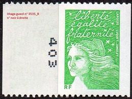 France Roulette N° 3535 B ** Marianne Du 14 Juillet - Luquet -  Le TVP RF Vert Numéro Noir à Droite - Roulettes