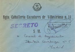39606. Carta SECRETO Regimiento Caballeria Cazadores De Villaviciosa Num 14. MADRID 1948, Franquicia Mando. Militar - 1931-50 Briefe U. Dokumente